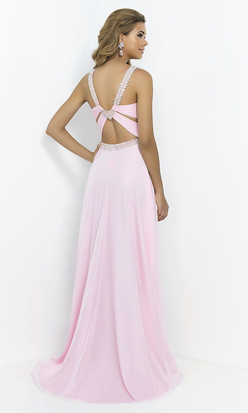Image of Long Prom Gown with Beading by Blush 9989 Style: BL-9989 Back Image
