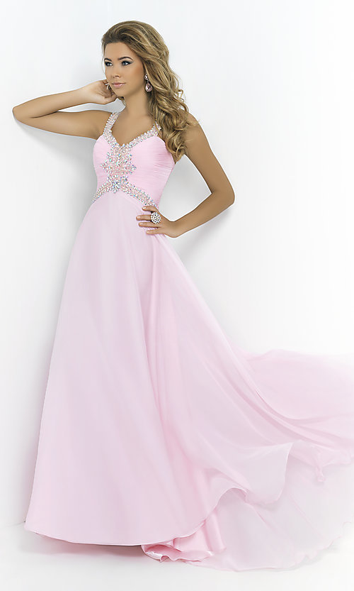 Image of Long Prom Gown with Beading by Blush 9989 Style: BL-9989 Front Image
