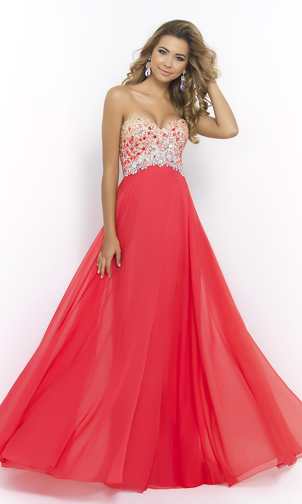 Strapless A-line Prom Gown Blush Long Prom Dress