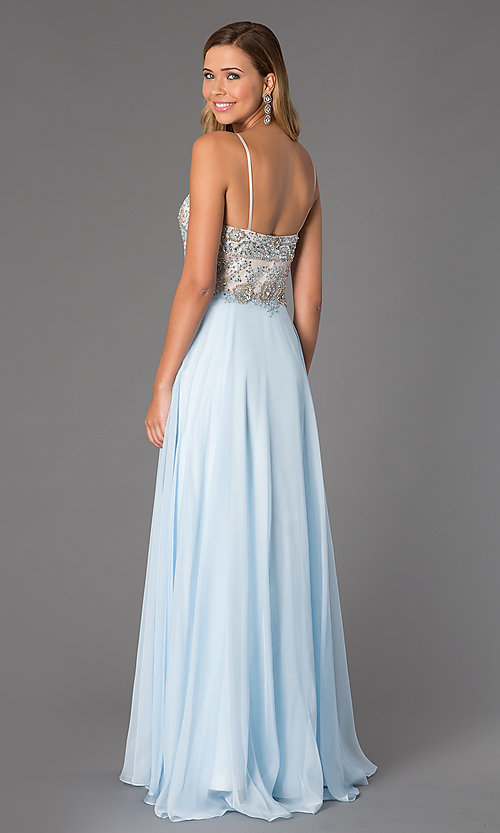 Image of long dress by Dave and Johnny with jewel embellished bodice. Style: DJ-489 Back Image