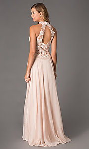 Image of Dave and Johnny Corset Top High Neck Gown Style: DJ-1007 Back Image
