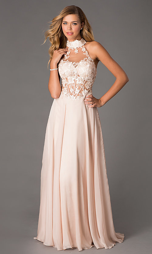 Image of Dave and Johnny Corset Top High Neck Gown Style: DJ-1007 Detail Image 1
