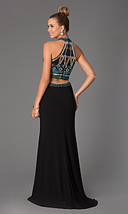 Image of Beaded Gown with Cut Out Waist Style: DJ-1165 Back Image
