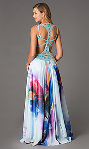 Image of Long Print Prom Dress by Dave and Johnny Style: DJ-1222 Back Image
