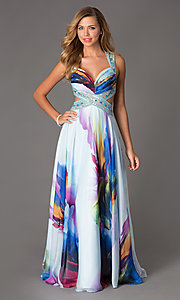 Image of Long Print Prom Dress by Dave and Johnny Style: DJ-1222 Detail Image 1