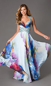 Long Floral Print Dave and Johnny Prom Gown