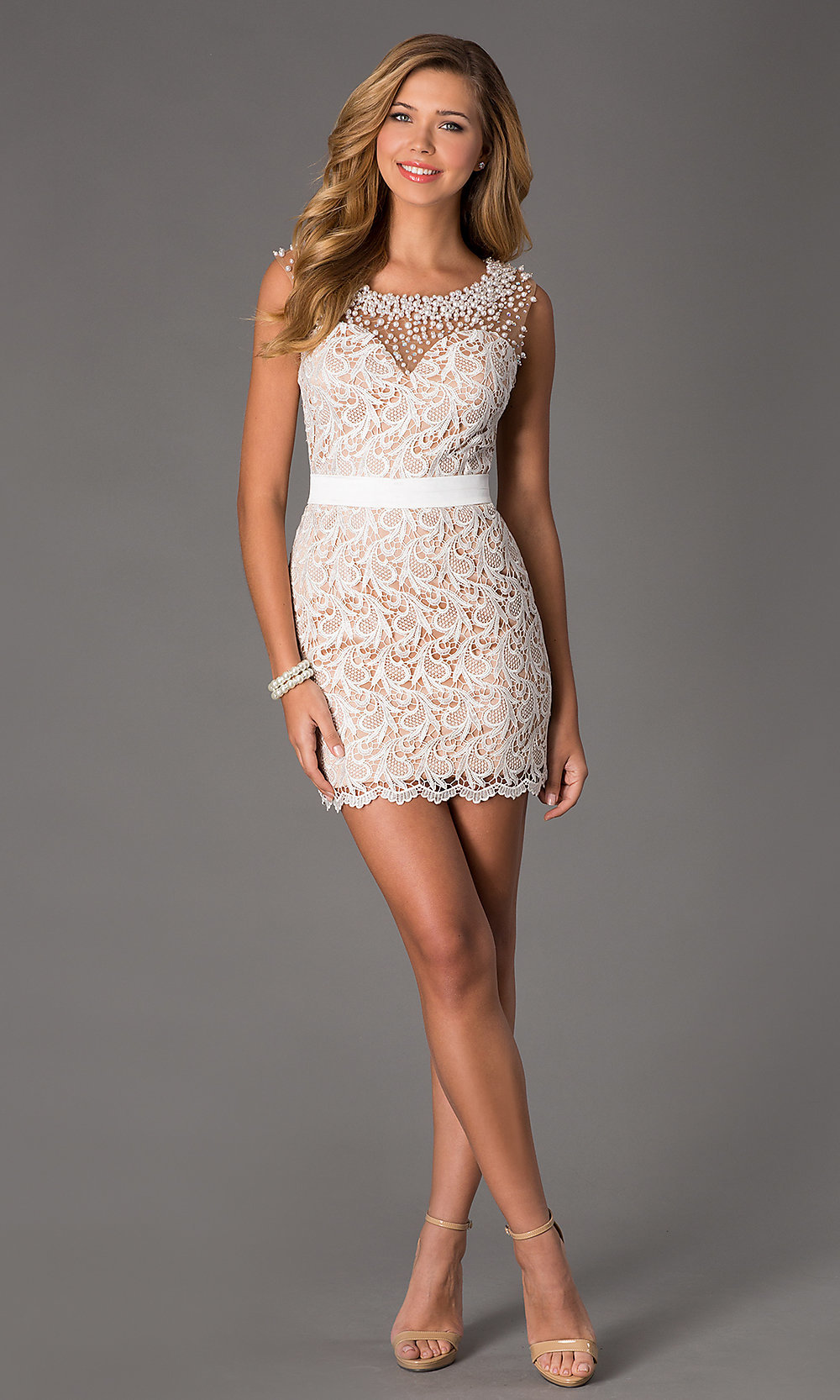 Sleeveless Lace Dress, Short Ivory Sleeveless Dress