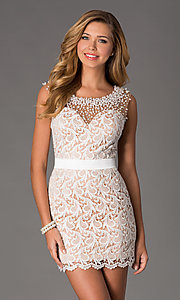 Image of Short Sleeveless Ivory Lace Dress Style: DJ-0453 Front Image