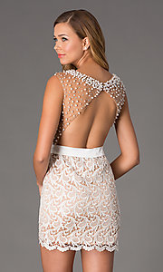 Image of Short Sleeveless Ivory Lace Dress Style: DJ-0453 Back Image