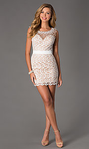 Image of Short Sleeveless Ivory Lace Dress Style: DJ-0453 Detail Image 1
