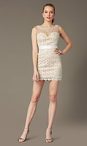 Image of Short Sleeveless Ivory Lace Dress Style: DJ-0453 Detail Image 2