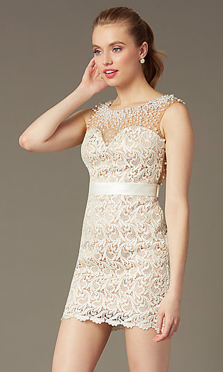 Short Sleeveless Ivory Lace Cocktail Dress