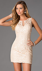 Short Sleeveless Lace Sequin Dress by Dave and Johnny