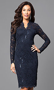 Image of Knee Length Lace V-Neck Long Sleeve Dress Style: JU-MA-261800 Detail Image 3