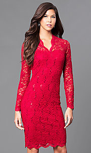Image of Knee Length Lace V-Neck Long Sleeve Dress Style: JU-MA-261800 Detail Image 2