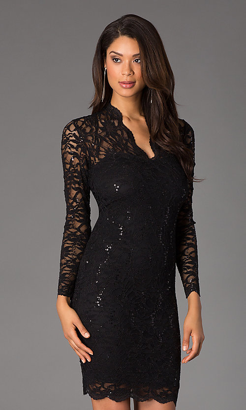 Image of Knee Length Lace V-Neck Long Sleeve Dress Style: JU-MA-261800 Detail Image 1