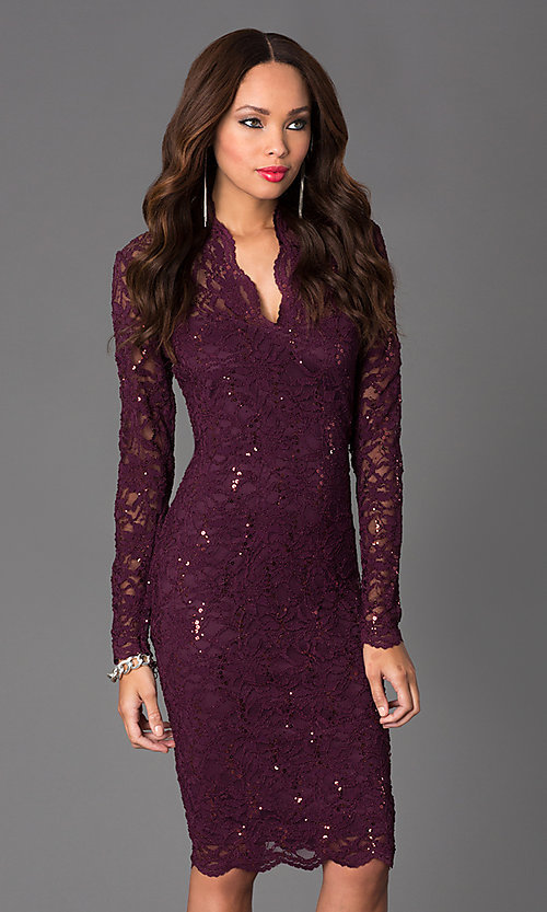 Image of Knee Length Lace V-Neck Long Sleeve Dress Style: JU-MA-261800 Front Image