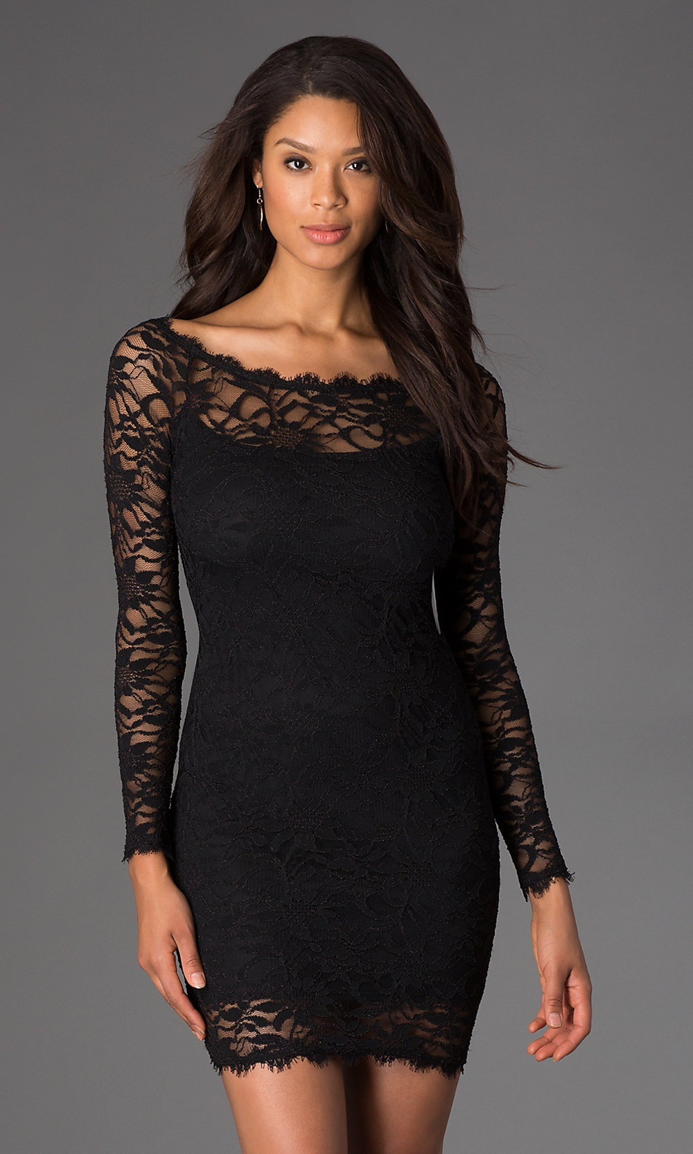 Short Black Lace Dress, Long Sleeve Dress by Jump