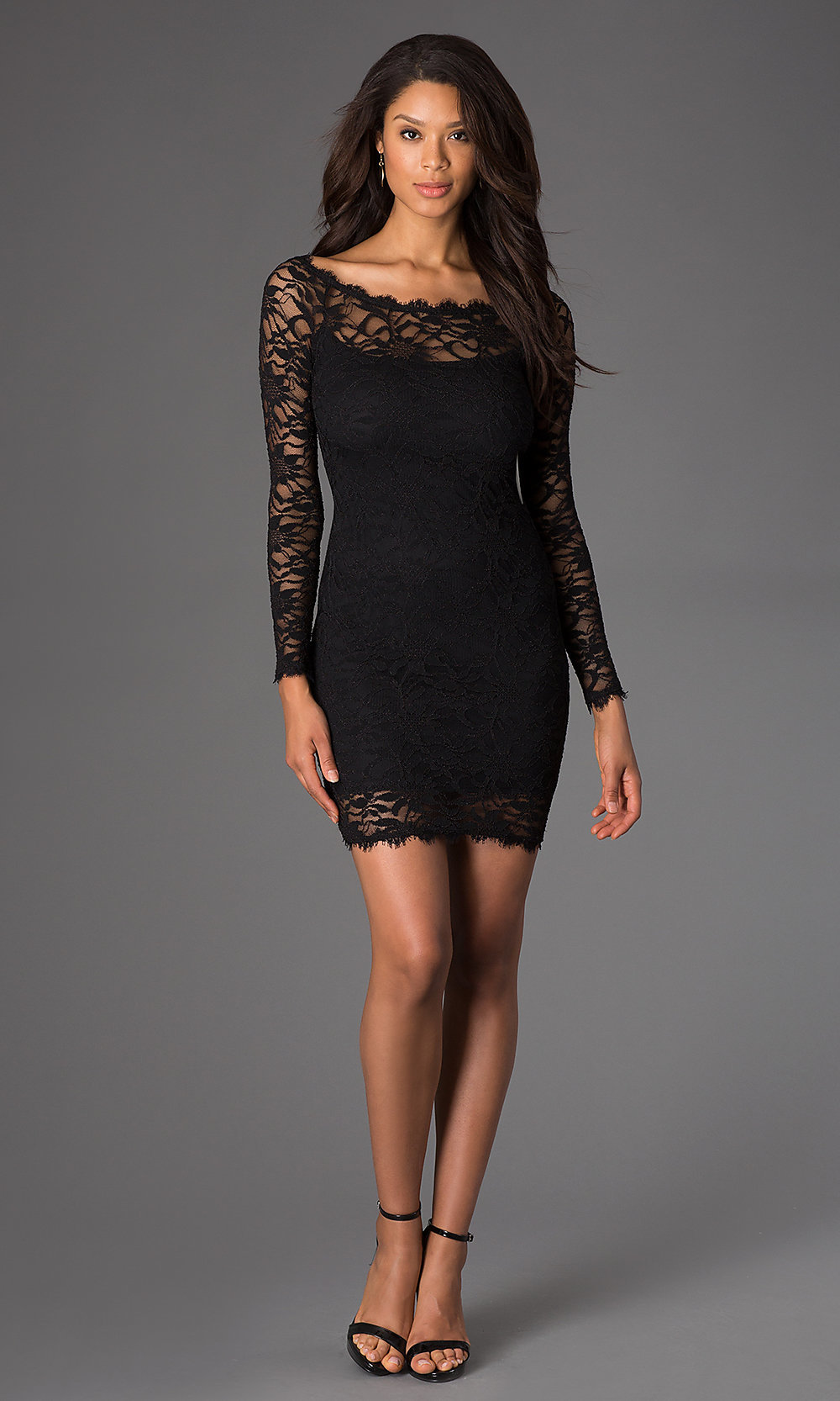 Short lace dresses with long sleeves