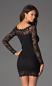 Image of Short Black Lace Long Sleeve Dress Style: JU-47248 Back Image