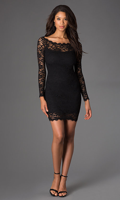 Image of Short Black Lace Long Sleeve Dress Style: JU-47248 Detail Image 1