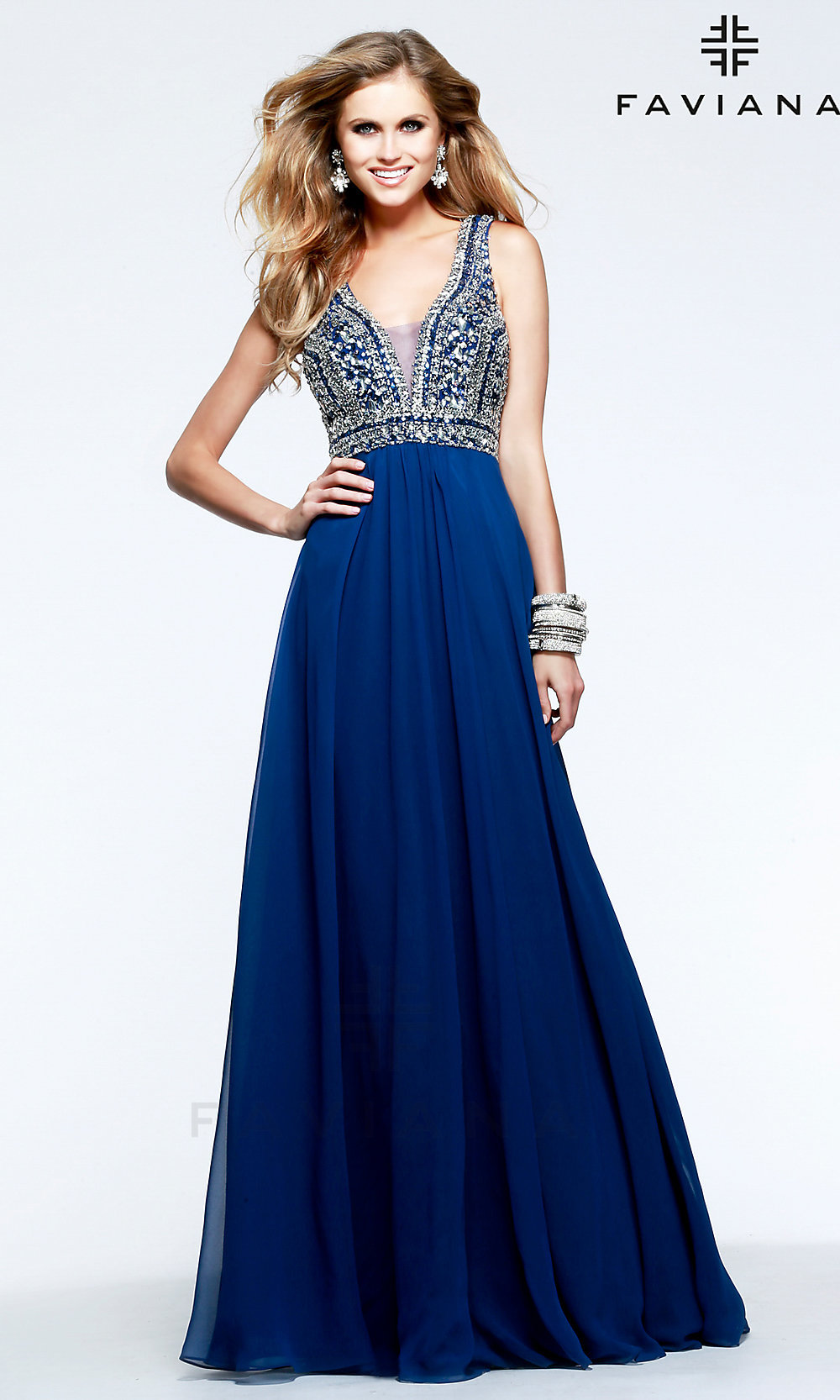 Beaded V Neck Faviana Prom Dress Fa S7500