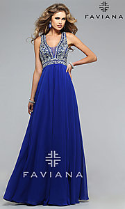 Image of Beaded V-Neck Formal Gown Faviana S7500 Style: FA-S7500 Detail Image 3