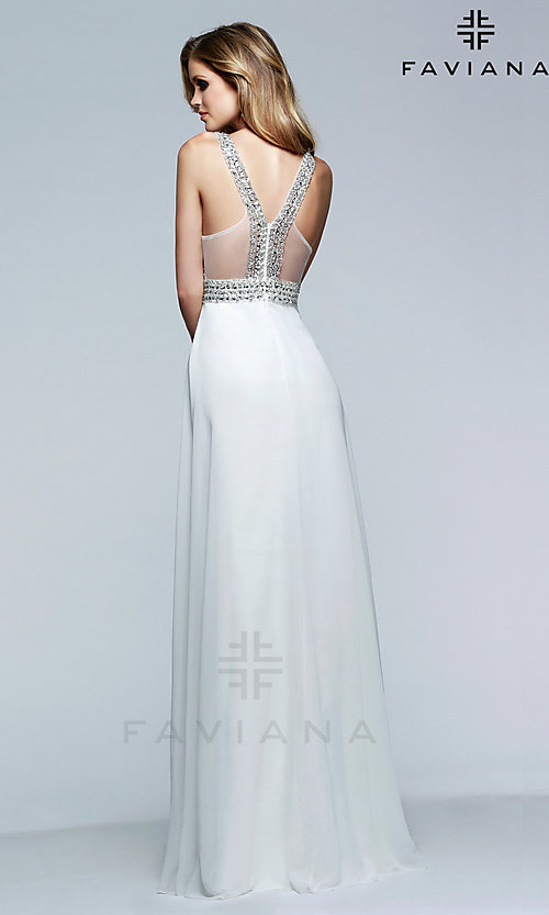 Image of Beaded V-Neck Formal Gown Faviana S7500 Style: FA-S7500 Back Image