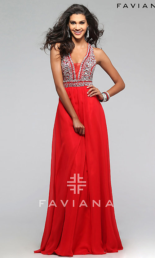 Image of Beaded V-Neck Formal Gown Faviana S7500 Style: FA-S7500 Detail Image 2