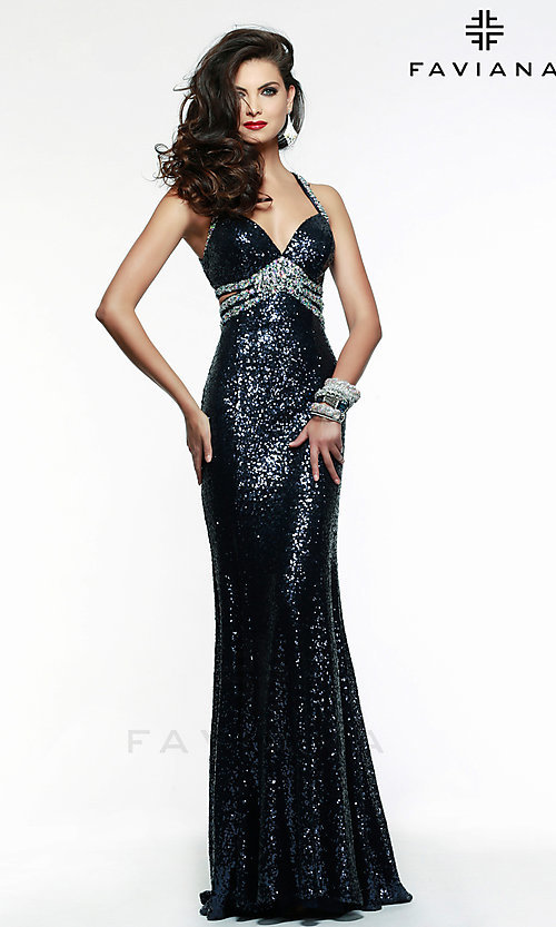 Image of Open Back Long Sequin Gown Faviana 7507 Style: FA-7507 Front Image