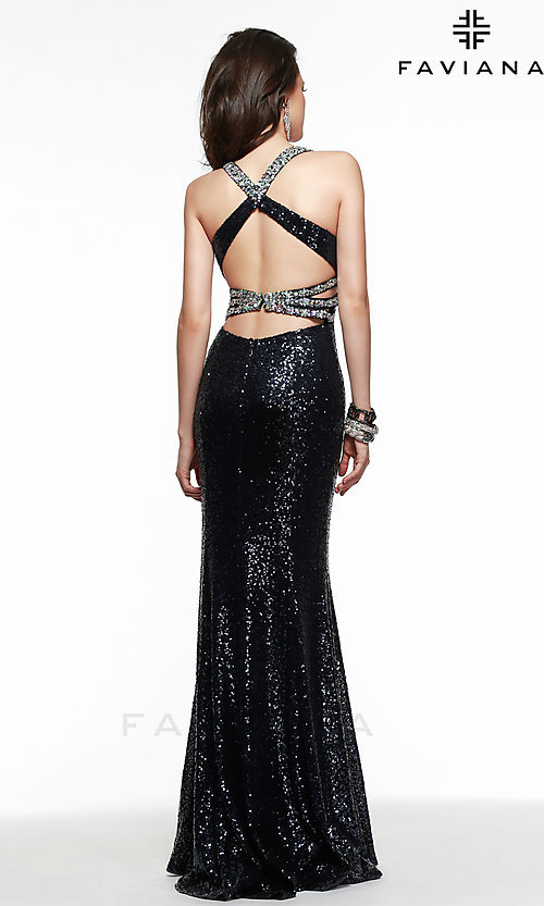 Image of Open Back Long Sequin Gown Faviana 7507 Style: FA-7507 Back Image