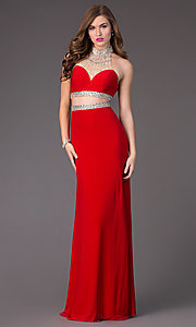 Faviana Open Back Two Piece Beaded Prom Dress