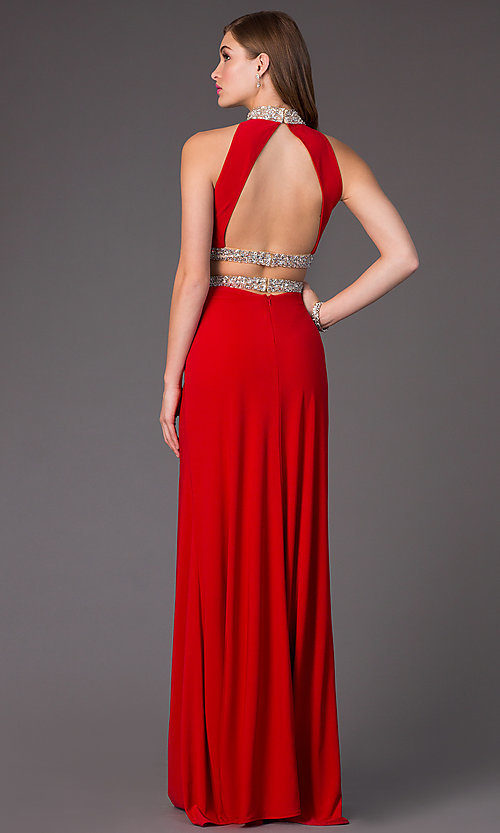 Image of Open Back Two Piece Beaded Prom Dress Style: FA-S7511 Back Image