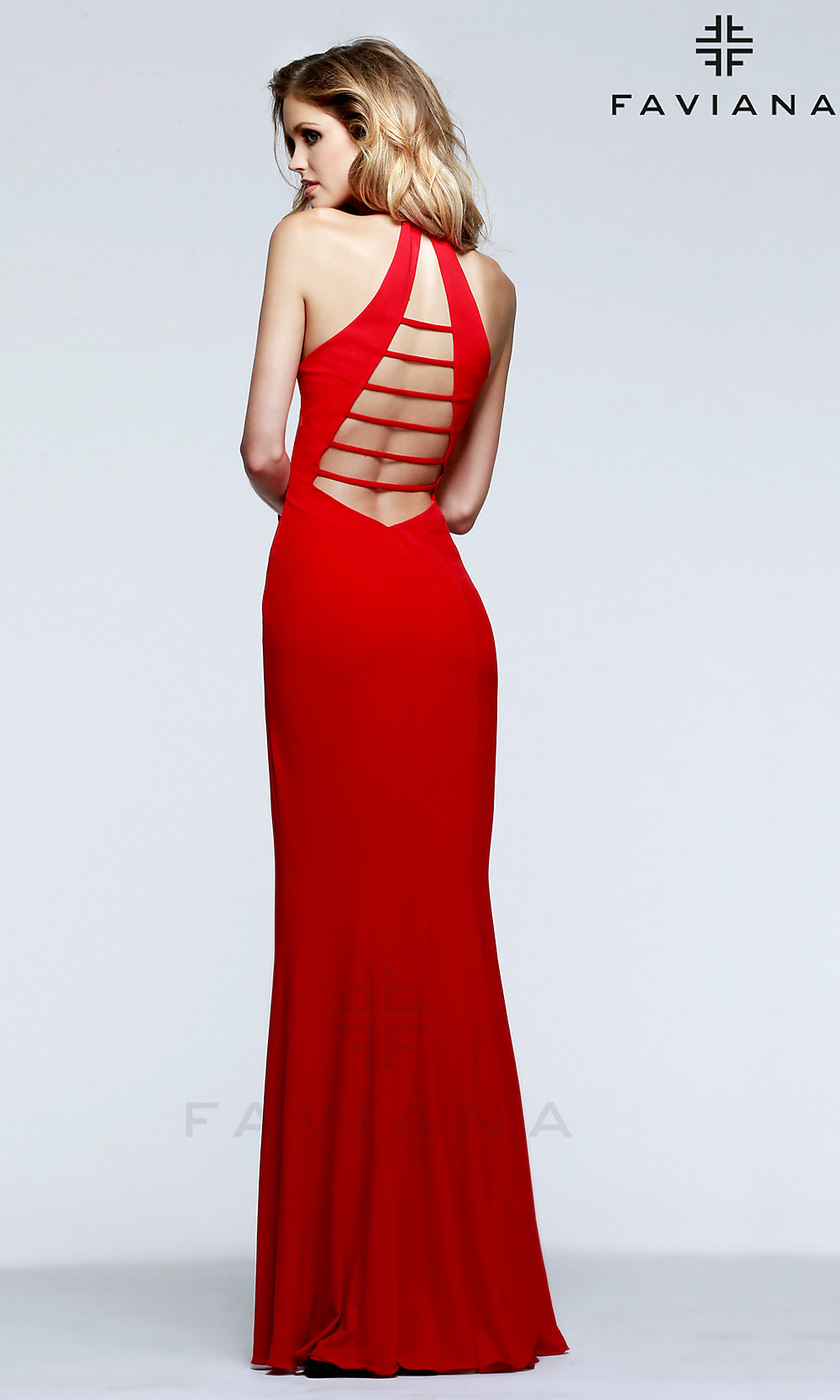Long Low Cut V-Neck Faviana Halter Prom Dress
