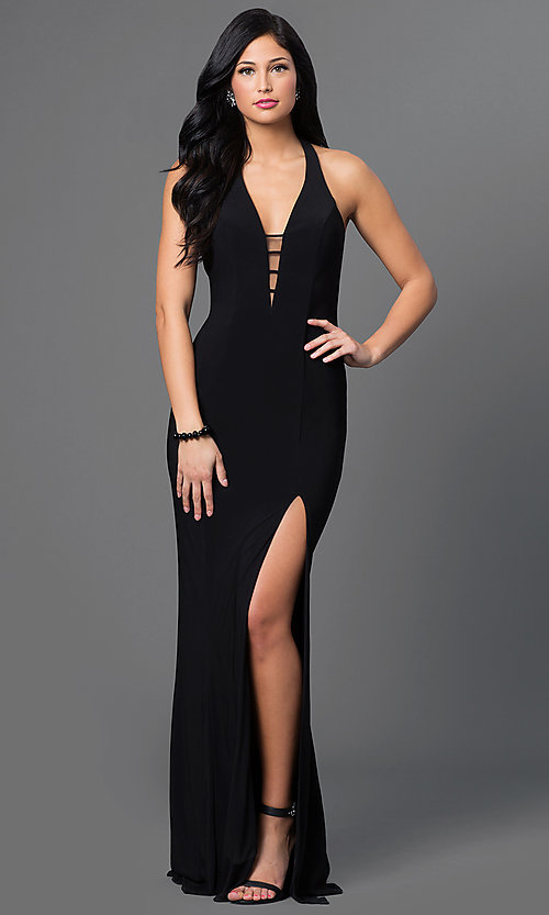 Low cut black cocktail dress