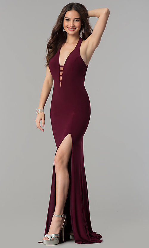 Image of Long Low Cut V-Neck Gown by Faviana 7540 Style: FA-7540 Detail Image 3