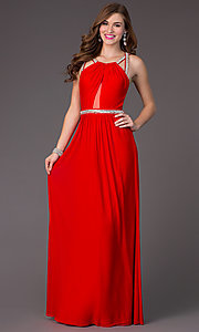 Floor Length Open Back Gown by Faviana