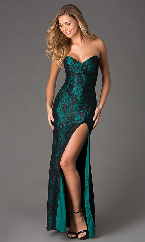 Image of Atria Strapless Sweetheart Lace Dress Style: AT-2100 Front Image