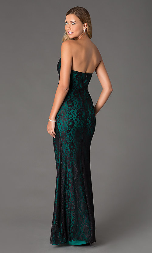 Image of Atria Strapless Sweetheart Lace Dress Style: AT-2100 Back Image