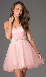 Image of short strapless sweetheart corset party dress. Style: DQ-8781 Detail Image 1