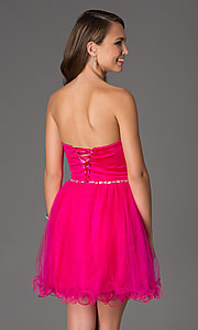 Image of short strapless sweetheart corset party dress. Style: DQ-8781 Back Image