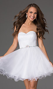 Short strapless sweetheart corset party dress