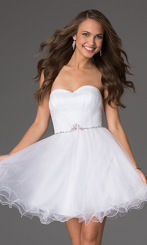 Image of short strapless sweetheart corset party dress. Style: DQ-8781 Front Image