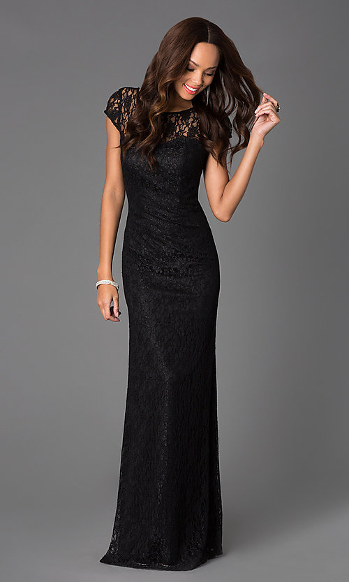 Black lace long sleeve evening dresses