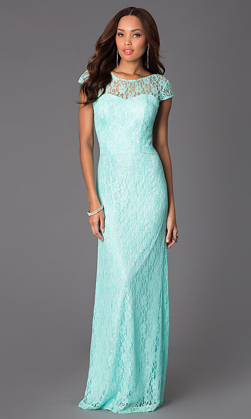 Image of Floor Length Short Sleeve Lace Gown Style: DQ-8768 Detail Image 1