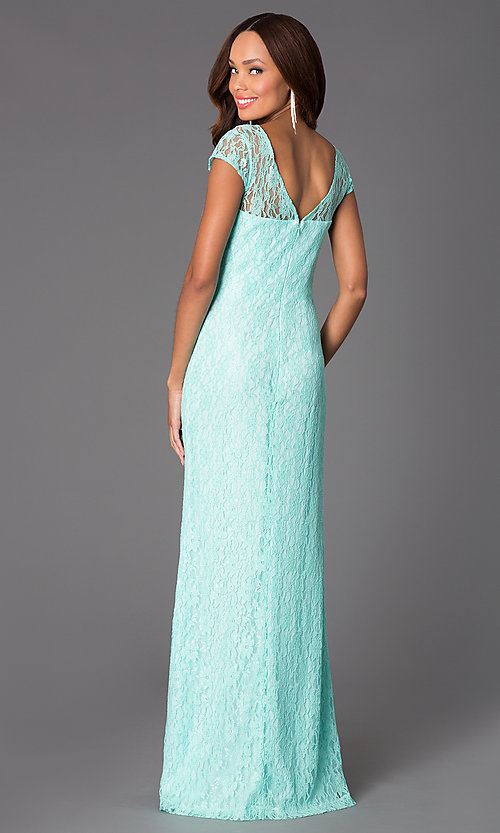Image of Floor Length Short Sleeve Lace Gown Style: DQ-8768 Back Image