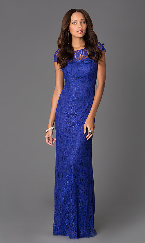 Image of Floor Length Short Sleeve Lace Gown Style: DQ-8768 Detail Image 2