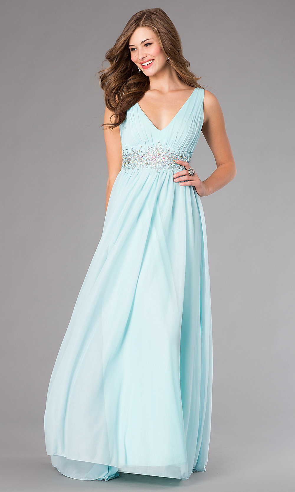 Jeweled Empire Waist Prom Dress - PromGirl