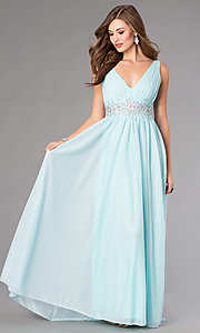 Light Blue V-Neck Floor Length Dress by Sequin Hearts