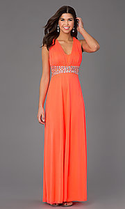 Image of long sleeveless jewel embellished empire waist neon coral dress Style: MY-2254SJ1S Front Image